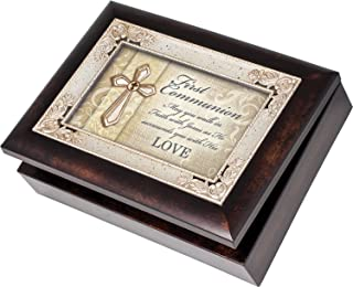 Cottage Garden First Communion Italian Style Burlwood Finish with Decorative Inlay Jewelry Music Box - Plays Song Amazing Grace