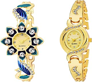R P S Fashion Women's Analogue Gold Flower Watch -Combo Pack of 2