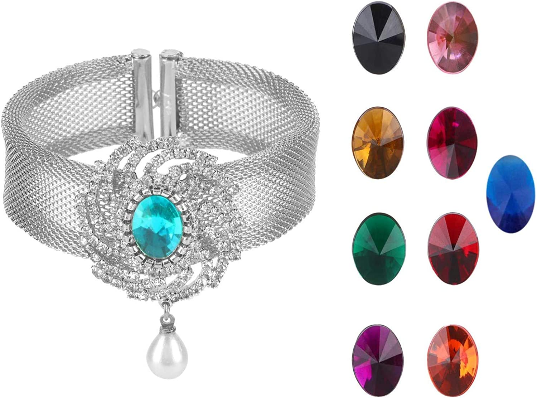 Efulgenz Crystal Rhinestone Rhodium Plated Changeable Multi Color Stone Indian Bollywood Cuff Bracelet Jewelry