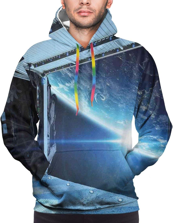 Men's Hoodies Sweatshirts,International Station Scenery Science Deep Dark Matter Search On Earth Design