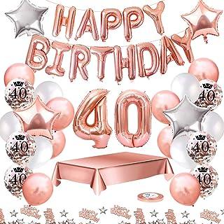 MMTX Globos De Cumpleaños 40 Años Feliz Cumpleaños Decoracion Regalo 40 Regalos Cumpleaños Mujer Oro Rosa con Guirnalda Banner De Cumpleaños para Fiesta,Manteles,Confetti,Globos de Látex Impresos