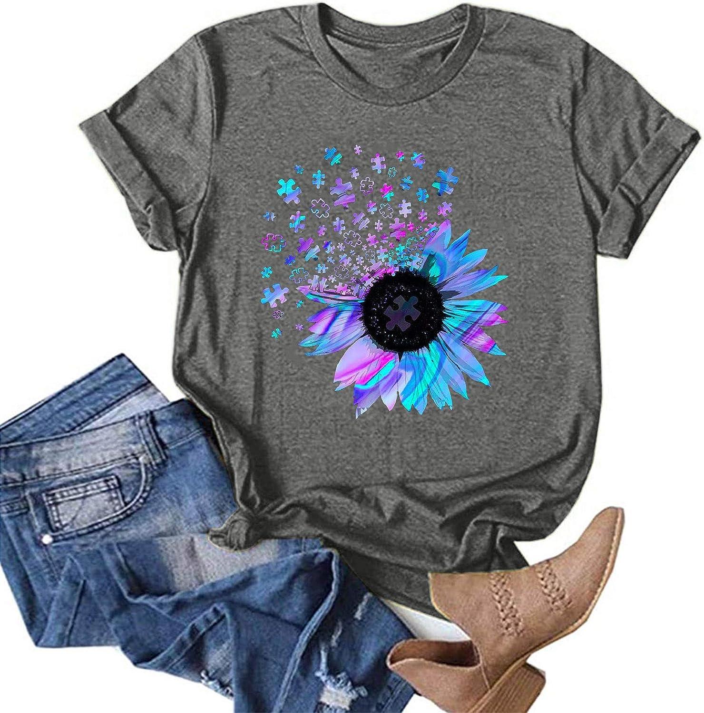 FABIURT Womens Short Sleeve Tops, Women's Casual Loose T-Shirts Printing Short Sleeves Tee Shirt Crewneck Blouse Tshirts