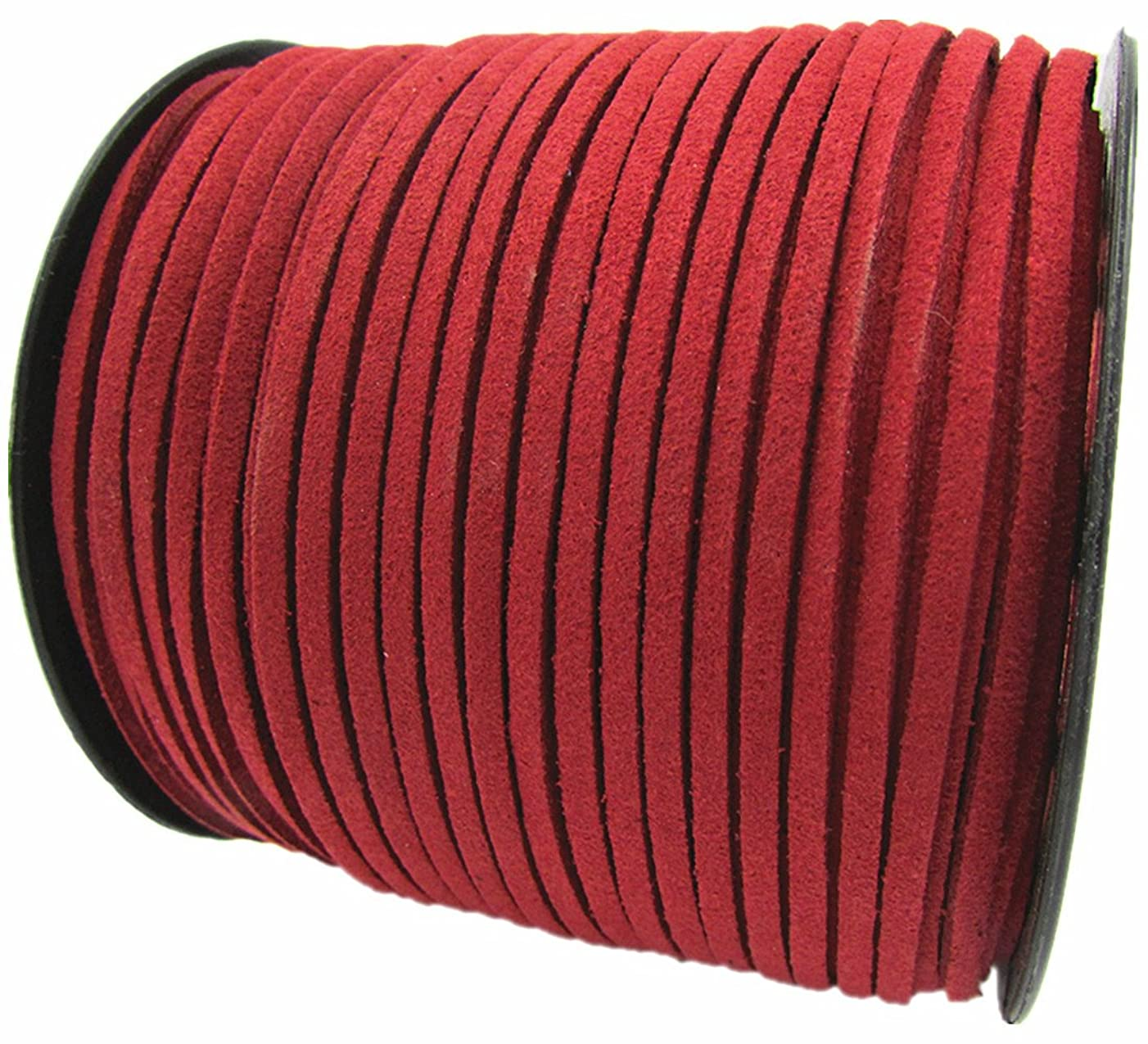 100 Yards Jewelry Making Flat Micro Fiber Lace Faux Suede Leather Cord (Red)
