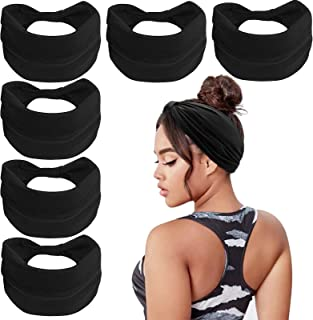 Wecoe 6 Pack Black Headbands For Women Headband For Wigs Wide Elastic Headband African Headbands Head Wrap Fashion Knotted...