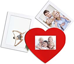 Adeco 3 Openings Decroative White Wooden with Red Heart Wall hanging Collage Picture Photo Frame - Made to Display Onen 5x...