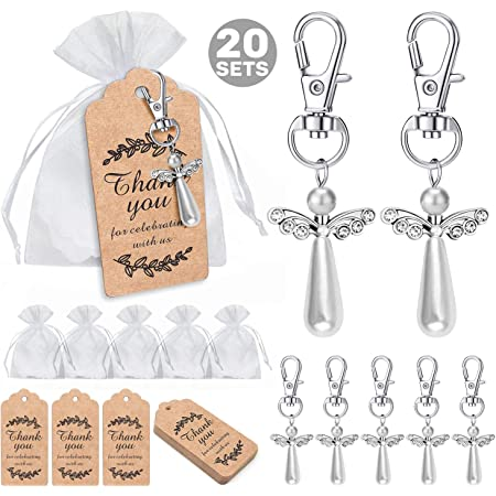 36 Gold Or Silver Guardian Angel Wings Keychain Bridal Shower Wedding Favors