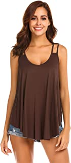 Wildtrest Loose Cami Tops for Women Pleated Tassel Trim Strappy Loose Casual Flowy Camisole Tank Tops