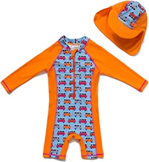 Bonverano Baby Girl's UPF 50 + Long Sleeve Sun Protection Swimsuit (24-36 Months, Orange)