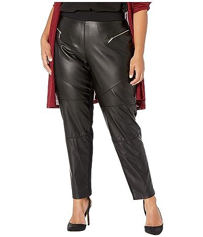 MICHAEL Michael Kors Plus Size Faux Leather Front Moto Leggings (Black) Women