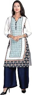 Indian Handicrfats Export Blue Cotton Round Neck Printed Woman's Kurti