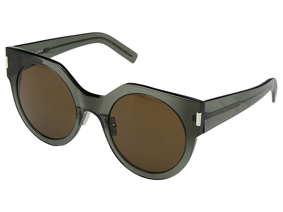 Saint Laurent SL 185 Slim (Dark Olive/Nicotine) Fashion Sunglasses