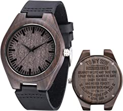 Engraved Wooden Watch,Personalized Leather Strap Wristwatch for Husband Son Dad