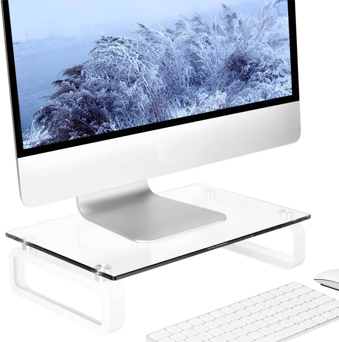Clear Computer Monitor Stand Riser Multi Media Desktop Stand for Flat Screen LCD LED TV, Laptop/Notebook/Xbox One, with Tempered Glass and Metal Legs, HD02T-001
