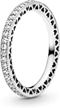 PANDORA Jewelry - Sparkle and Hearts Ring for Women in PANDORA Rose and Sterling Silver with Clear Cubic Zirconia