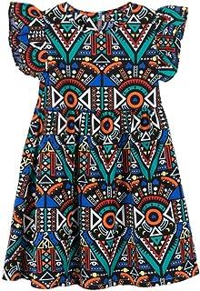 2c9a0e38845 OHQ Robe sans Manches Imprimé Floral Géométrique Noir Bleu Foncé Rose Blanc  Bébé Filles Enfants Infant