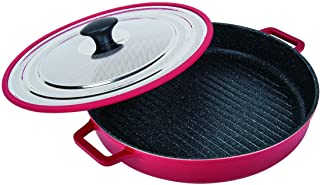 "MasterPan Non-Stick Stovetop Oven Grill Pan with Heat-in Steam-Out Lid, nonstick cookware, 12"", Red, MP-106"