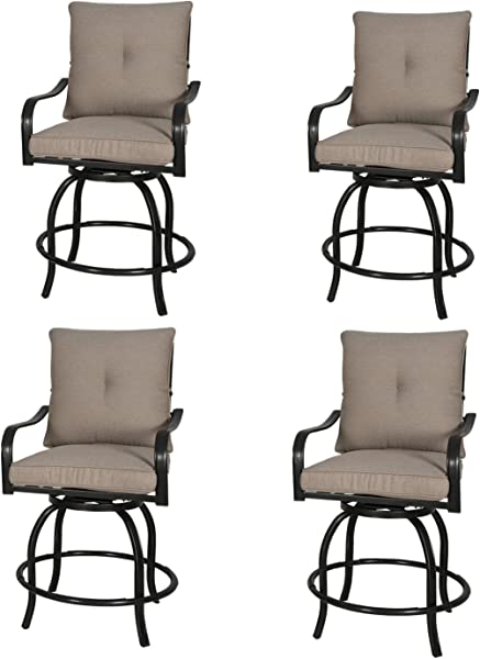 Rimba Outdoor Swivel Chairs Height Patio Bar Stools With Beige Cushions Set Of 4