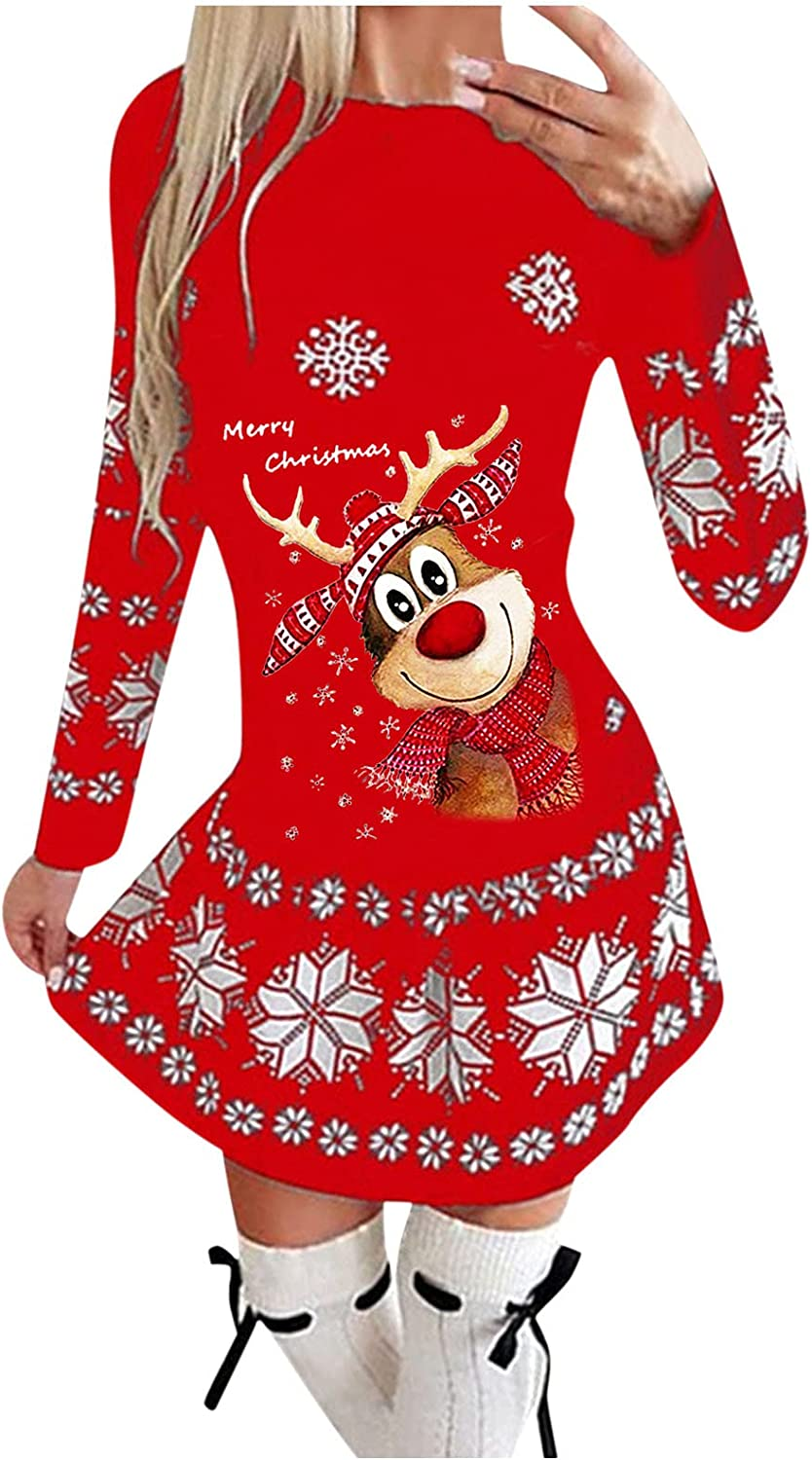 haoricu Women Christmas Pullover Popular safety shop is the lowest price challenge Dress Reindeer S Snowflake Cute