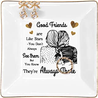 Kaidouma Friend Gifts for Women Ring Trinket Dish Christmas Birthday Gifts for Best Friends Female - Good Friends are Like...