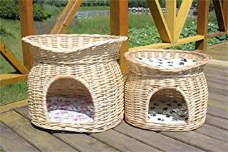 WOWOWMEOW Breathable Woven Cat Cave Bed Handcrafted Pet Condo House Sleeping Bed for Cats and Puppies