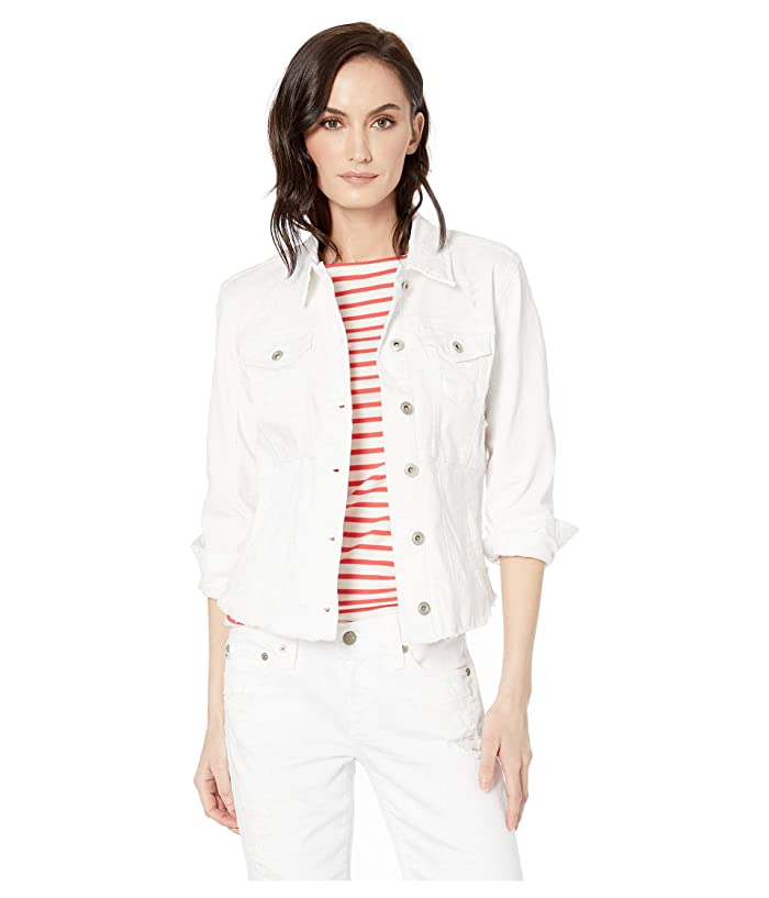 Tribal Stretch Twill Distressed Jean Jacket (White) Women