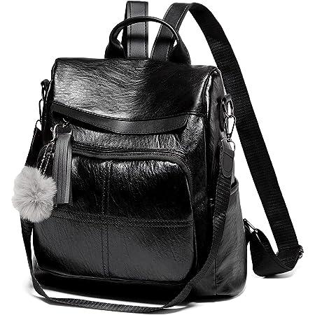 VASCHY Rucksack Damen, Diebstahlsicherer Rucksack Wasserabweisend Kunstleder Casual Daypack Elegant Handtasche Schulrucksäcke für Frauen Hochschule Teenager Mädchen mit Mode Quaste (Braun)