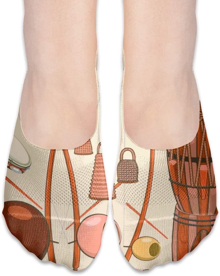 FriendEver No Show Socks Women for Flats Brazilian Capoeira Instruments Cotton Non Slip Athletic Low Cut Socks