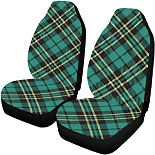 INTERESTPRINT Seamless Tartan Pattern Car Seat Covers Set of 2 Protector