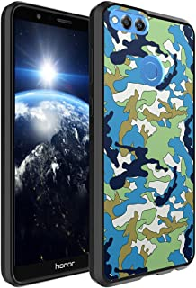 Huawei Honor 7X Case, Capsule-Case Hybrid Slim Hard Back Shield Case with Fused TPU Edge Bumper (Black) for Huawei Honor 7X - (Green Cartoon Camo)