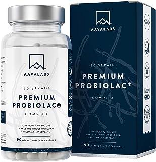 Complejo Probiolac Premium - Alta Potencia - 120 Mil Millones de UFC - 30 Cepas de Bacterias Buenas - Zinc Añadido para el Sistema Inmunológico y Soporte para el Metabolismo - 90 Cápsulas