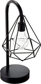 Circleware 03601 Triangle Casing Metal Battery Operated Lamp with LED Light, Home Decor for Bedroom, Living Room, Desk, and Table, 6