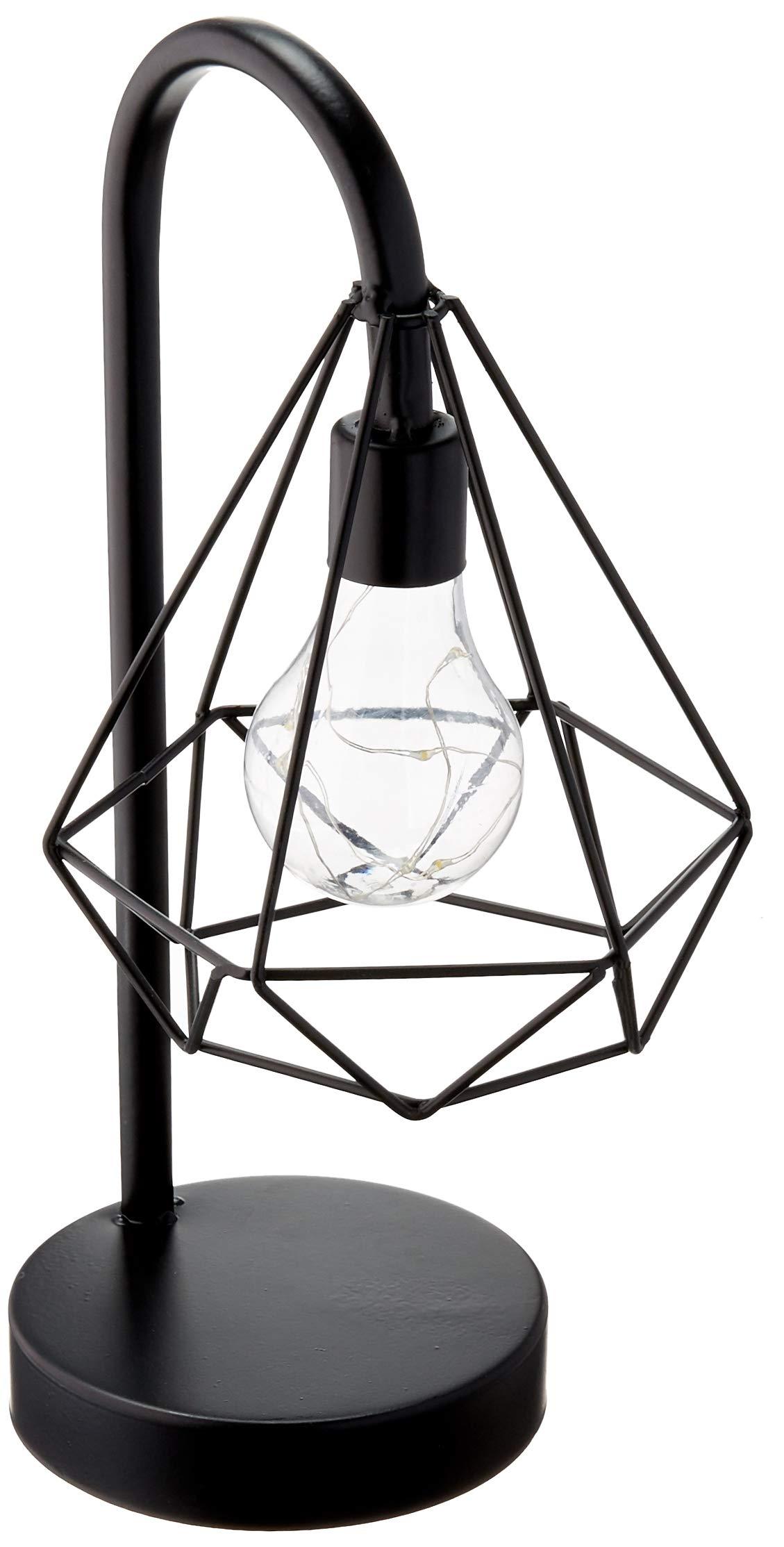 サークルウェアテーブル、テーブル、またはサスペンションライト - ランタンスタイルブラックメタルコードレス装飾ライト(LED電球ブラック5.91