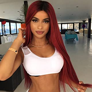 MISSWIG Ombre Color Cosplay Wigs Wine Red Long Straight Wig Hair 100% Kanekalon Synthetic Heat Resistant