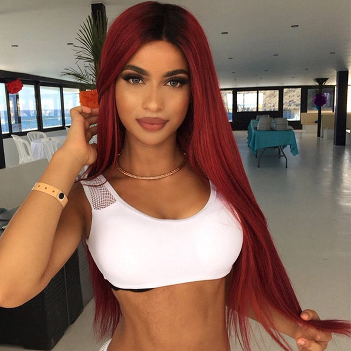 MISSWIG Ombre Color Cosplay Wigs Wine Red Long Straight Wig Hair 100% Kanekalon Synthetic Heat Resistant Straight Wig for Women