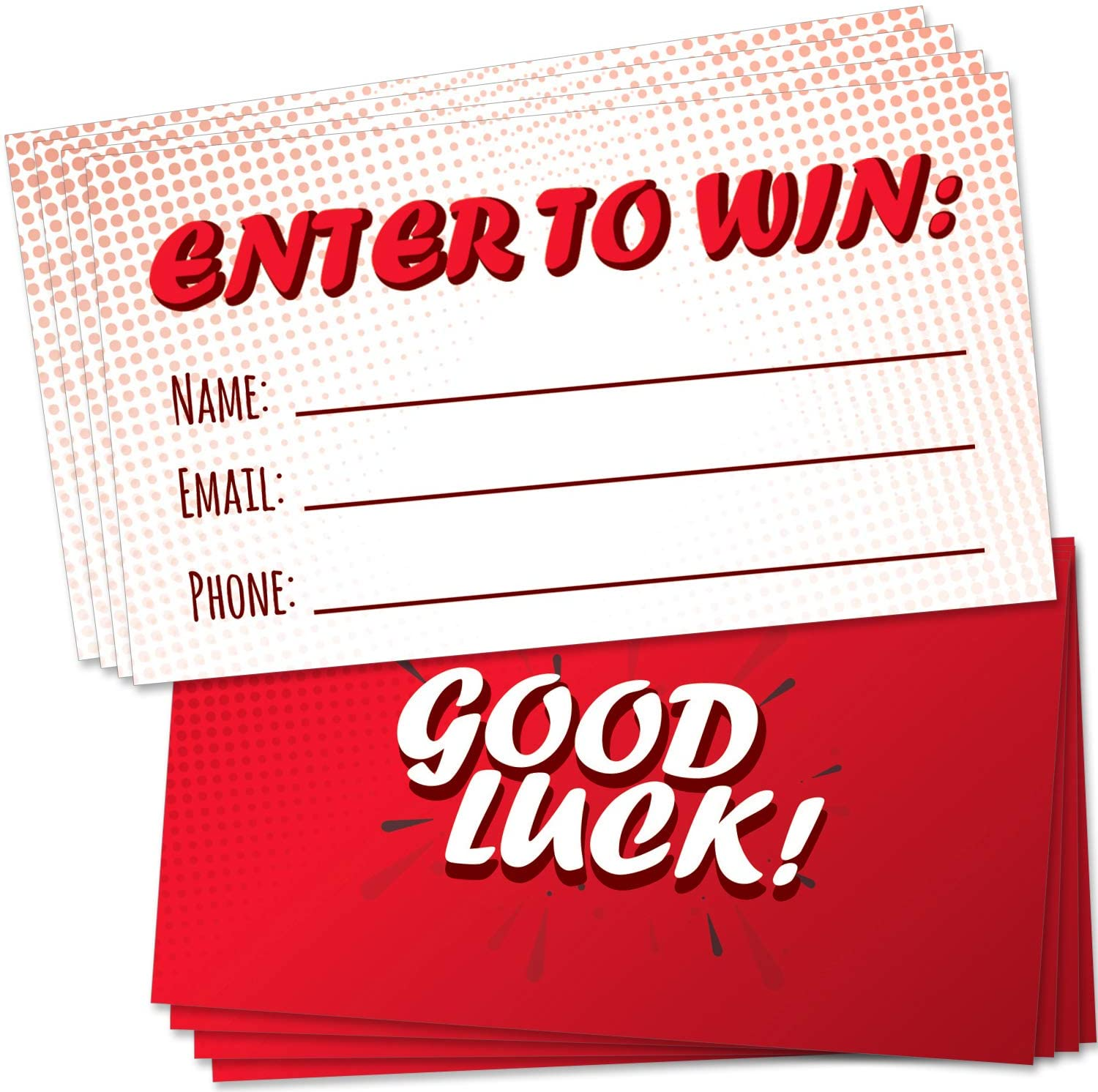 """200 Raffle Tickets 3.5""""x2"""" - Enter to Win Entry Form Cards for Giveaway Contest, Raffles, Ballot Box, 50/50, Auction and More - with Space for Name, Email Address and Phone Number Fields"""