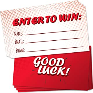 """100 Raffle Tickets Red 3.5""""x2"""" - Enter to Win Entry Form Cards for Giveaway Contest, Raffles, Ballot Box, 50/50, Auction and More - with Space for Name, Email Address and Phone Number Fields"""