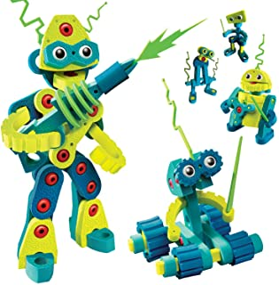 Bloco Toys Robot Invasion | STEM Toy | 5 DIY Robots | Modular Building Construction Set (225 Pieces)