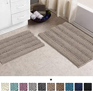 Chenille Area Rug (Non-Slip) Kitchen and Bathroom Mat Rug Super Water Absorbent Soft Microfibers,Machine-Washable,Hand Tufted Heavy Weight,Khaki, Size 20