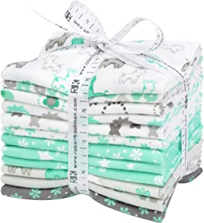 Cozy Cotton Flannel Mint/Grey 12 Fat Quarters Robert Kaufman Fabrics FQ-1532-12