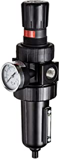 """Parker 07E38A18AC One-Unit Combo Compressed Air Filter/Regulator, 1/2"""" NPT, Metal Bowl with Sight Gauge, Auto Float Dr..."""
