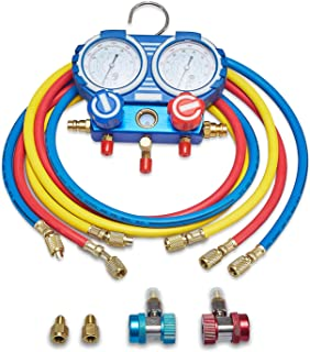 AUTOGEN 3 Way AC Diagnostic Manifold Gauge Set for R134A R12 R22 Refrigerants with 5FT Hose, Acme Tank Adapters, Quick Couplers and Can Tap