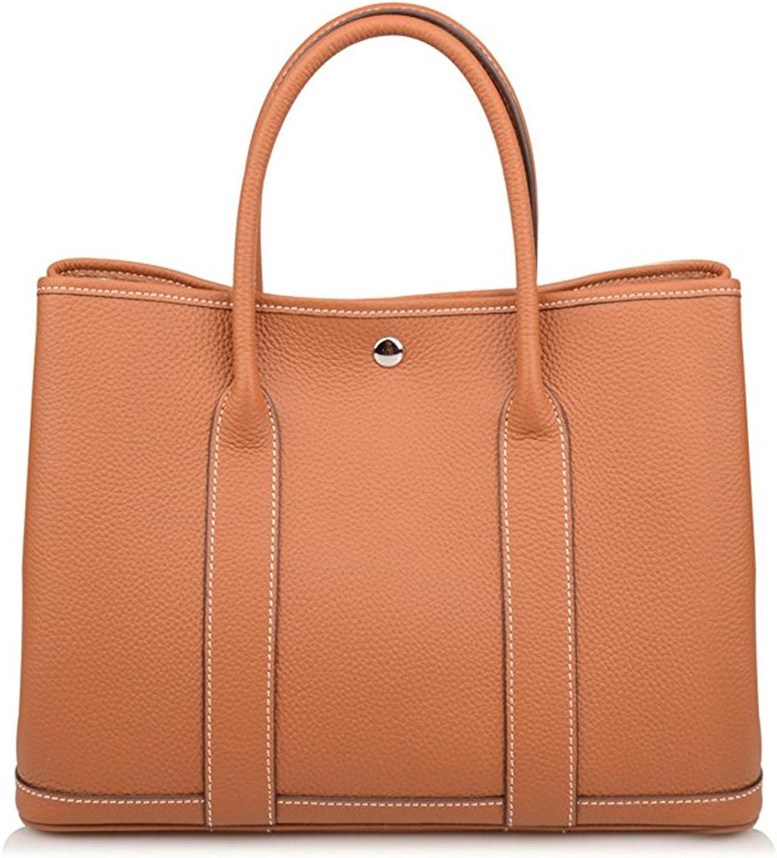 Genuine Leather Tote Bag Top Handle Handbags Brown