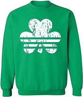 Pekatees Shamrock Striped Sweatshirt Lucky Irish Sweater for Men and Women