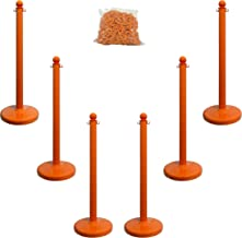 Mr. Chain Plastic Stanchion Kit with 50 Feet of 2-Inch Link Chain and C-Hooks, Safety Orange, Pack of 6 (71112-6)