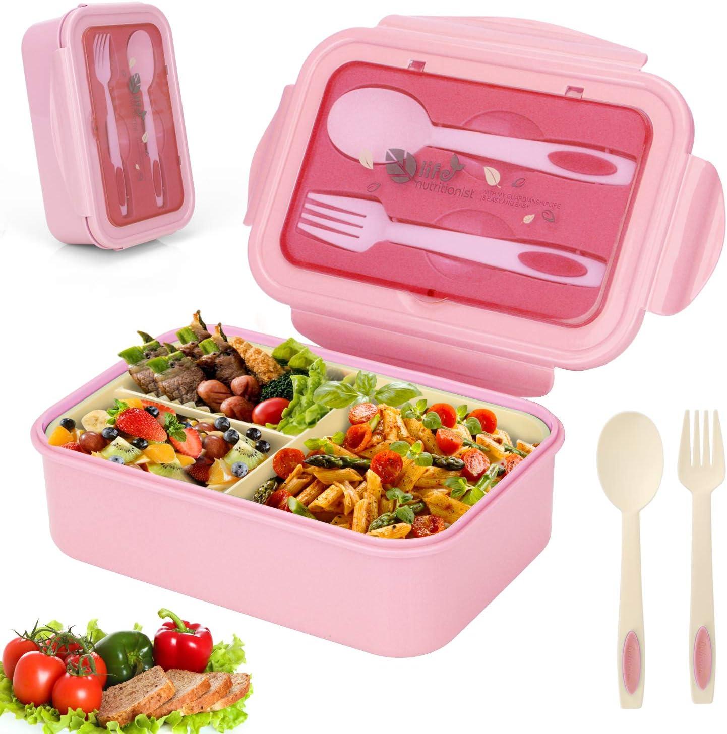Sinwind Fambrera Infantil, Lunch Box, Bento Box, Fiambrera con 3 Compartimientos, Cuchara Tenedor Lonchera, Bento Box Sostenible, para Microondas y Lavavajillas (Rosado)