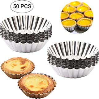 Egg Tart Molds, Amatted 50 PCS Reusable Baking Tinplate Circular Cups Non-Stick Cupcake Cake Muffin Moulds Mini Pie Tin Tartlet Pans Puto Cup DIY Bakeware Baking Tool (Tinplate)