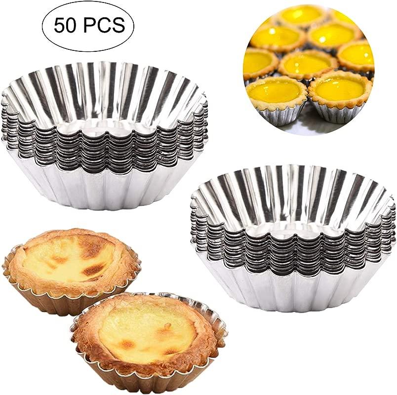 Egg Tart Molds Amatted 50 PCS Reusable Baking Tinplate Circular Cups Non Stick Cupcake Cake Muffin Moulds Mini Pie Tin Tartlet Pans Puto Cup DIY Bakeware Baking Tool Tinplate