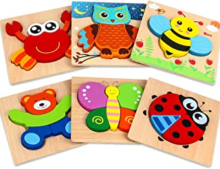 Dreampark Wooden Jigsaw Puzzles, 6 Pack Animal Puzzles for Toddlers Kids 1 2 3 Years Old Educational Toys for Boys and Girls