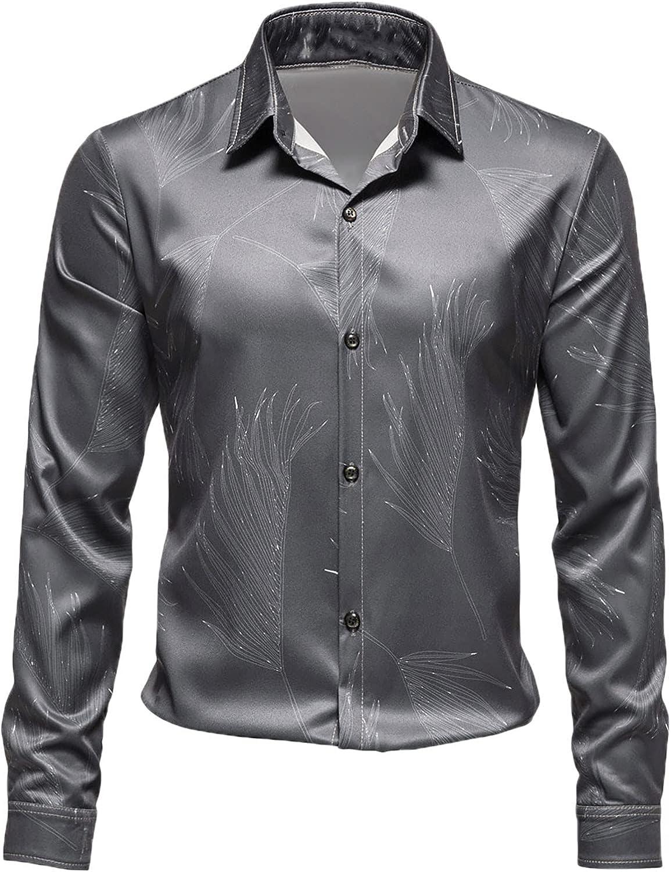Men's Floral Dress Shirt Luxury Long Sleeve Casual Business Button Down Shirt