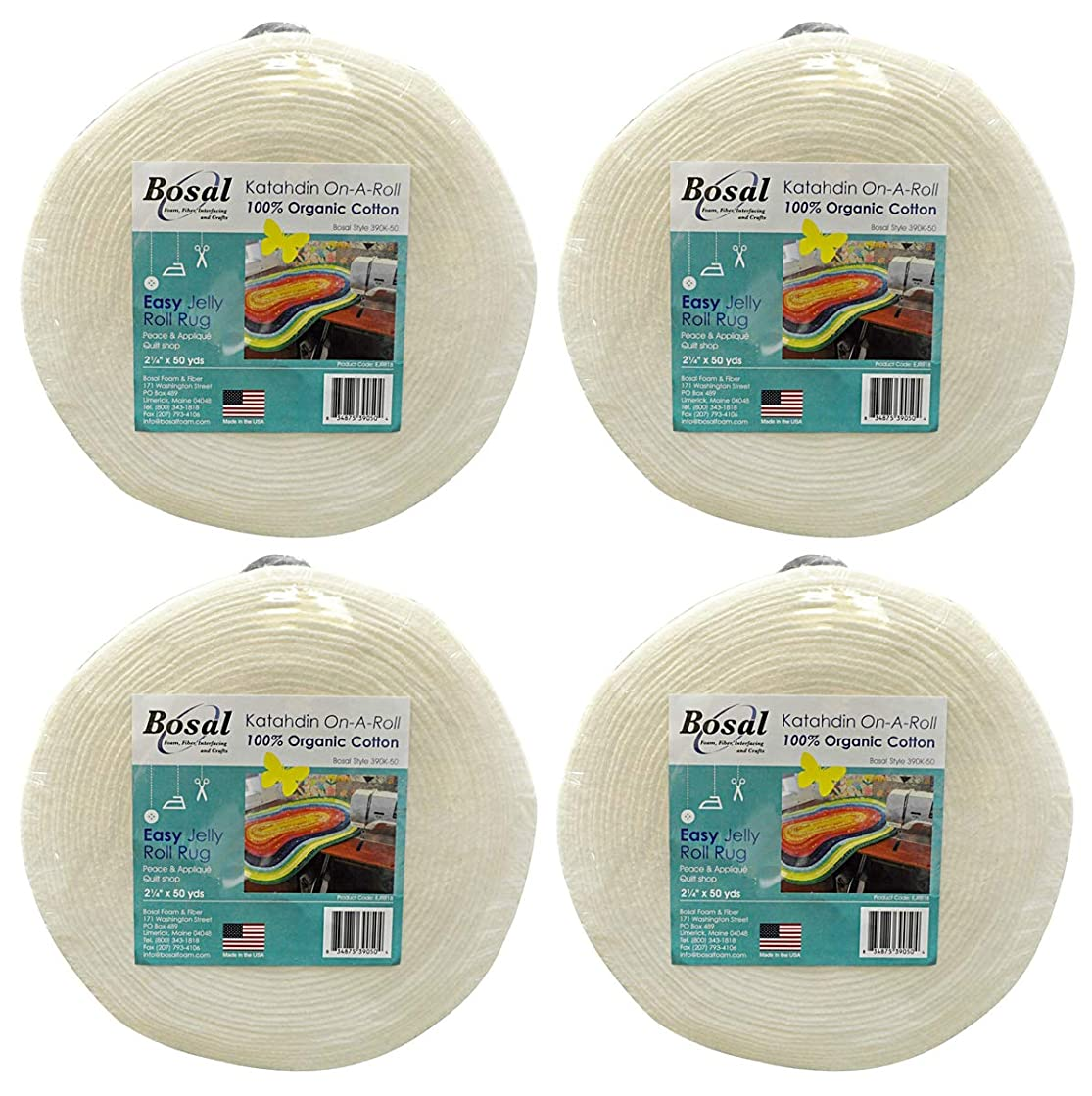 Bosal Katahdin On-A-Roll Organic Cotton Batting 2-1/4 inches by 50 Yards, 4 Pack